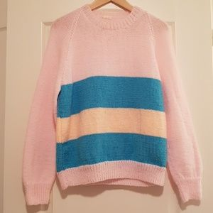 Vintage hand knitted baby pink blue sweater
